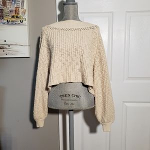 FREE PEOPLE cropped balloon sleeve sweater